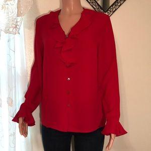 Karen Scott red blouse